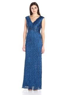 Adrianna Papell Women's Sleevless V Neck Lace Gown with Bead Detail