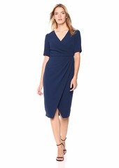 Adrianna Papell Women's Slim Elbow Sleeve Textured Crepe Modern Sheath Dress
