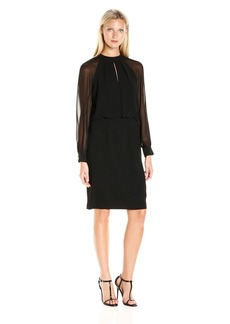 Adrianna Papell Women's Slit Blouson Dress with Bishop Sleeve