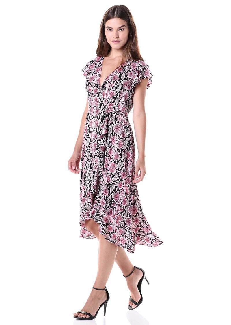 Adrianna Papell Women's Snakeskin Print Wrap Dress