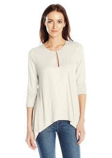 Adrianna Papell Women's Solid 3/4 Sleeve Key Hole Embroidery  M