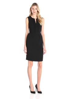 Adrianna Papell Women's Solid Crepe Dress with Pintucks