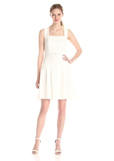 Adrianna Papell Women's Solid Pebble Crepe Sleeveless Belted Dress