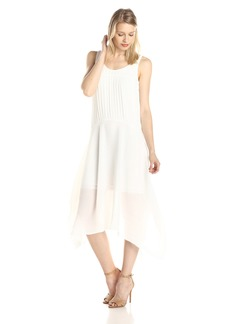 Adrianna Papell Women's Solid Pleated High Low Tank Dress