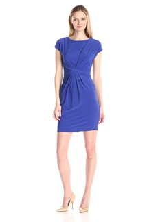 Adrianna Papell Women's Solid Scoop Neck Cap Sleeve Jersey Dress