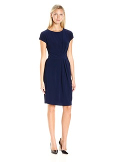 Adrianna Papell Women's Solid Scoop Nk Cap Sleeve Dress