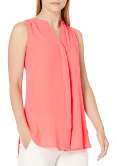 Adrianna Papell Women's Solid Sleeveless High Low Equipment Shirt  L