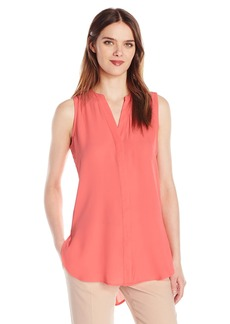 Adrianna Papell Women's Solid Sleeveless High Low Equipment Shirt  S
