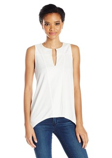 Adrianna Papell Women's Solid Sleeveless Key Hole Embroidered Shark Bite  L