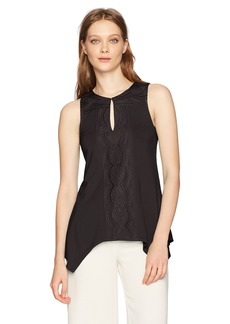Adrianna Papell Women's Solid Sleeveless Key Hole New Embroidery Shark Bite  L