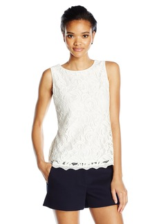 Adrianna Papell Women's Solid Sleeveless Lace Blouse  L