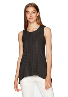 Adrianna Papell Women's Solid Sleeveless New Embroidery Shark Bite  M