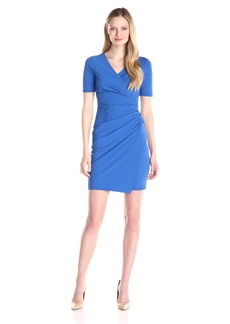 Adrianna Papell Women's Solid Vneck Ruched Dress