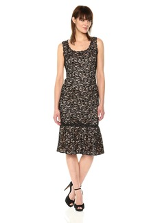 Adrianna Papell Women's Sophia Lightweight Knit Lace Sleeveless Trumpet Dress
