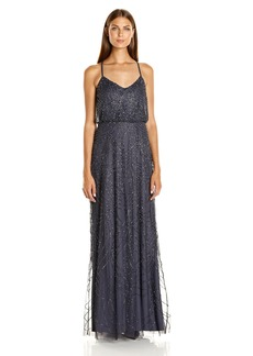 Adrianna Papell Women's Spaghetti Strap Beaded Blouson Gown