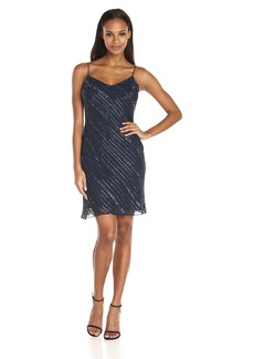 Adrianna Papell Women's Spaghetti Strap Beaded Dress with Flare Bottom
