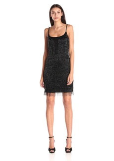 Adrianna Papell Women's Spaghetti Strap Beaded Dress with Fringe