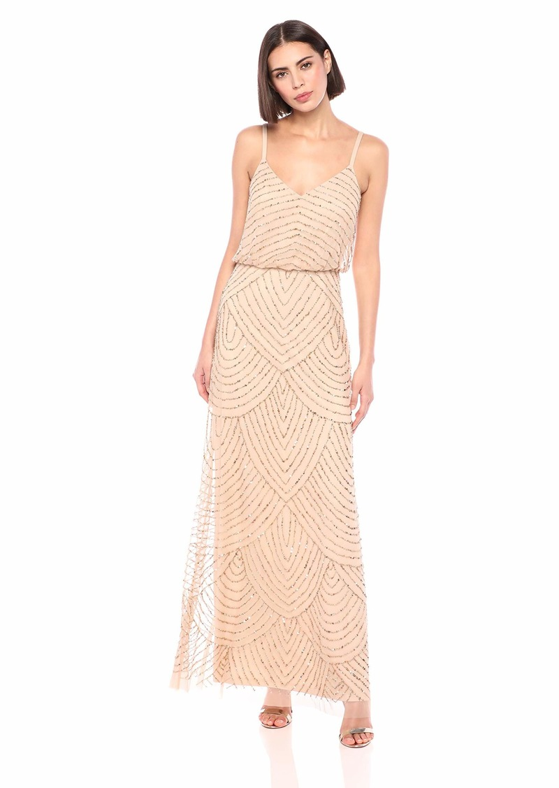 Adrianna Papell Women's Spaghetti Strap Beaded Long Blouson Dress