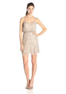 Adrianna Papell Women's Sleeveless V-Neck Blouson Beaded Cocktail Dress taupe/pink