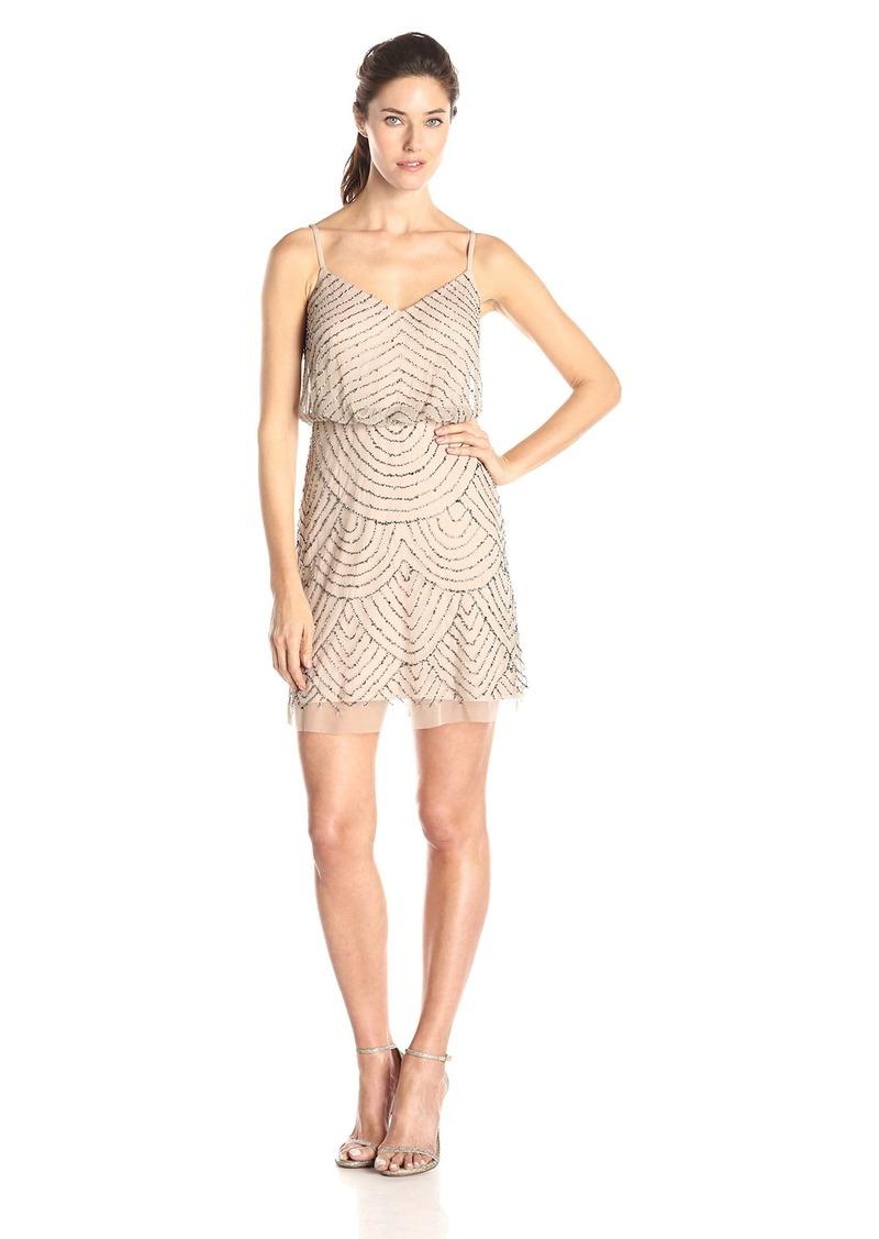 Adrianna Papell Women's Sleeveless V-Neck Blouson Beaded Cocktail Dress taupe/pink