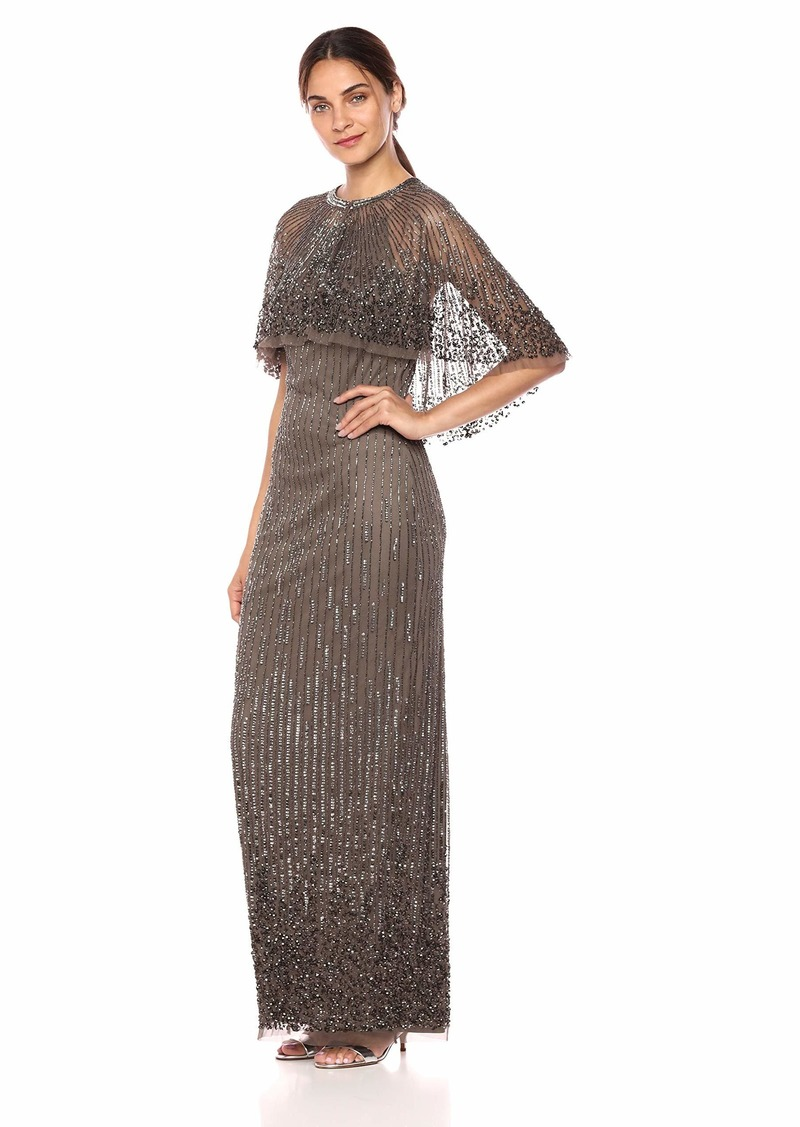 Adrianna Papell Women's Spaghetti Strap Long Dress with Beaded Capelet