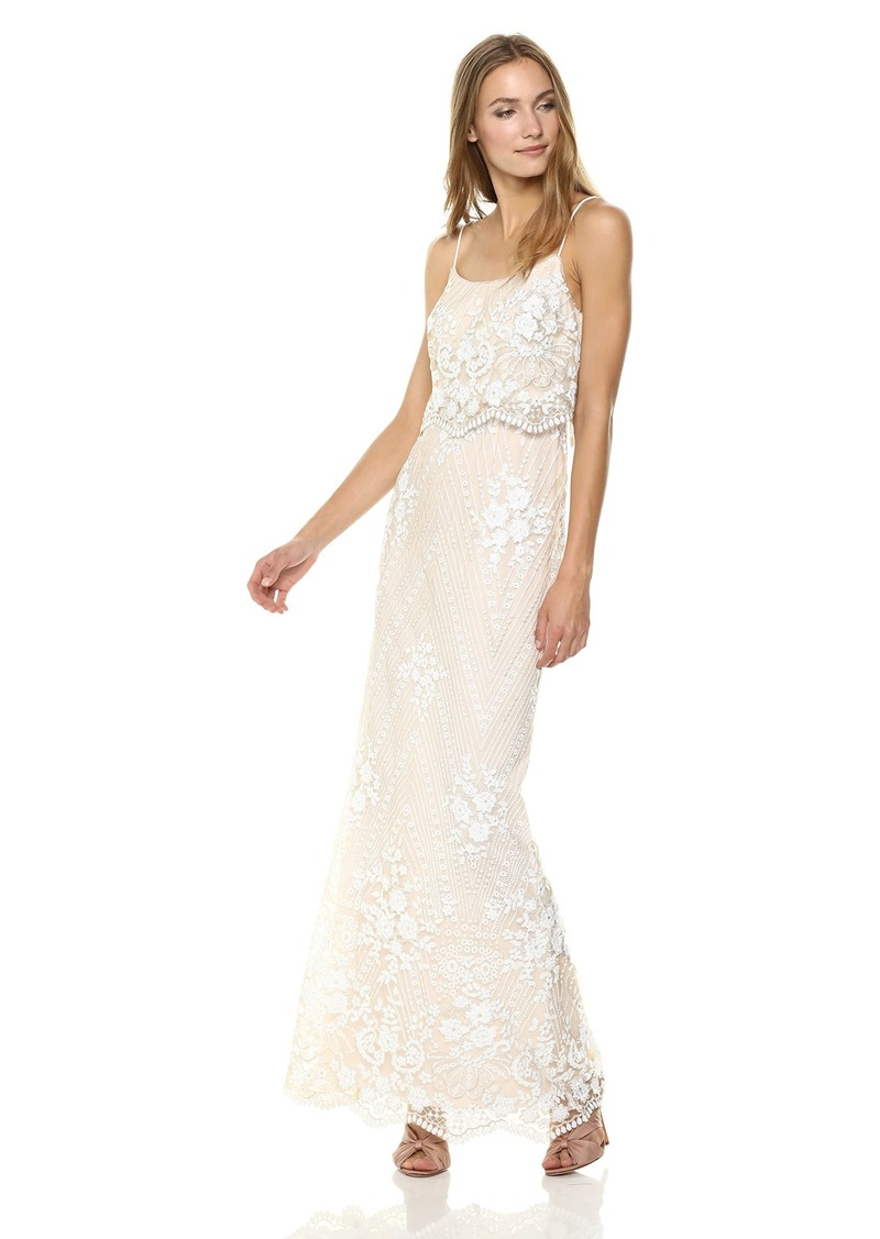 Adrianna Papell Women's Spaghetti Strap Sequin Embroidered Popover Dress
