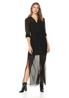 Adrianna Papell Women's Spider Chiffon Shirt Maxi Dress