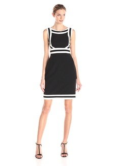 Adrianna Papell Women's Spliced and Striped Crepe Dress