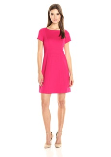 Adrianna Papell Women's Square Seamed Fit and Flare Ponte Dress