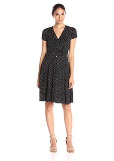 Adrianna Papell Women's Ss Center Ruched Shirt Dress