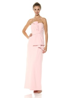 Adrianna Papell Women's Strapless Bow Detail Front Knit Crepe Column Gown