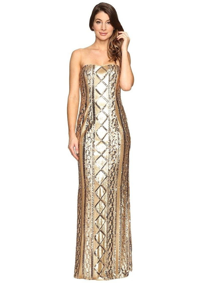 Adrianna Papell Women's Strapless Cable Sequin Gown