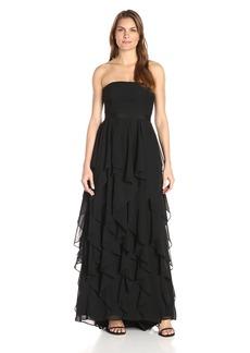 Adrianna Papell Women's Strapless Chiffon Ruffle Skirt Gown