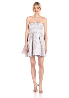 Adrianna Papell Women's Strapless Floral Jacquard Party Dress