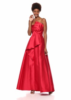 Adrianna Papell Women's Strapless Mikado Ball Gown with Bow Accent Dress red