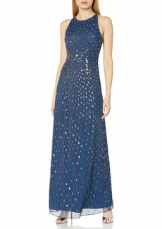 Adrianna Papell Women's Strappy Halter Radiating Beads