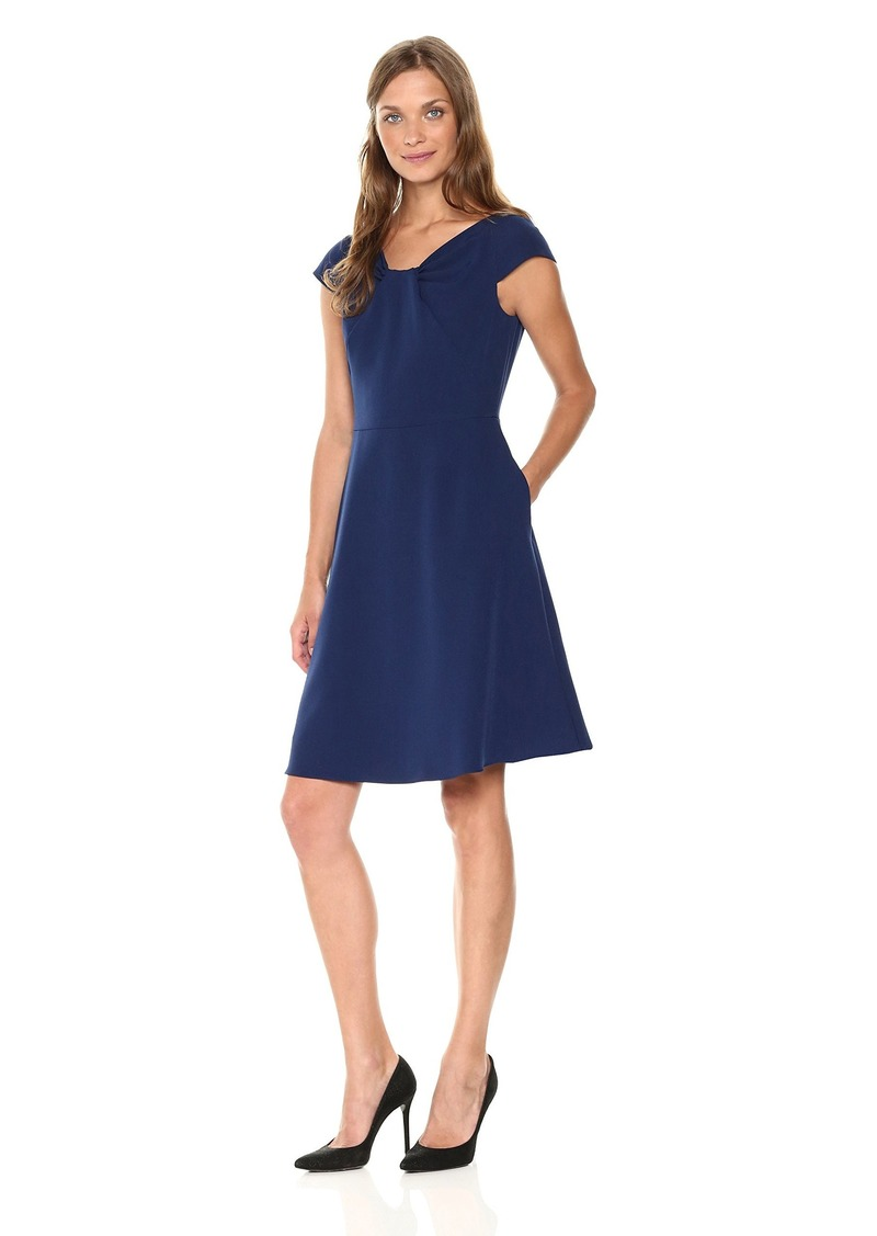 Adrianna Papell Women's Stretch Crepe Drape Neck Dress