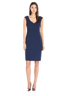 Adrianna Papell Women's Stretch Crepe V-Neck Side Tuck