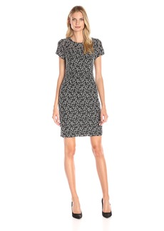Adrianna Papell Women's Stretch Lace Sheath Dress Black/Ivory