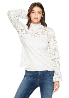 Adrianna Papell Women's Stretch Lace Smocked Neck and Sleeve