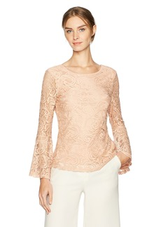 Adrianna Papell Women's Stretch Lace Top with Deep Scoop Back
