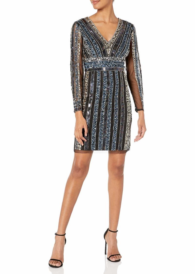 Adrianna Papell Women's Stripe Bead Sheath Dress