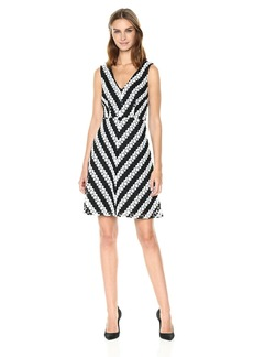 Adrianna Papell Women's Striped Fit and Flare Lace Black/Ivory