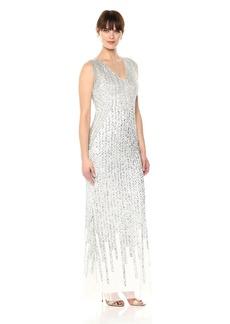 Adrianna Papell Women's Striped Fringe Long Dress
