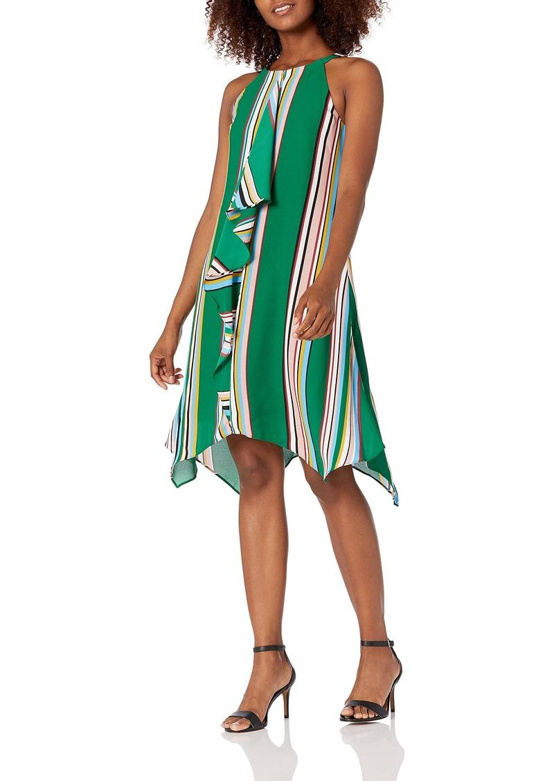 Adrianna Papell Women's Striped Handkerchief Dress