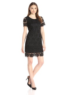 Adrianna Papell Women's Sunflower Scalloped Lace Flounce T-Shirt Dress