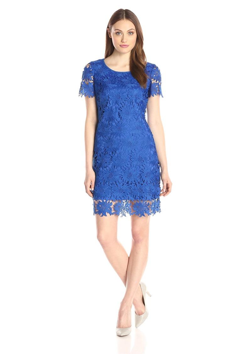 Adrianna Papell Women's Sunflower Scalloped Lace Flounce T-Shirt Dress