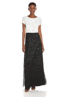 Adrianna Papell Women's T-Shirt Color Block Fully Beaded Gown