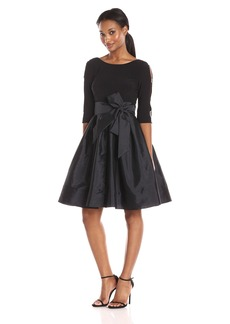 Adrianna Papell Women's Taffeta Two-Fer Fit and Flare Dress