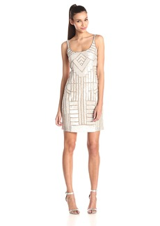 Adrianna Papell Women's Tank Beaded Party Dress with Scoop Neck